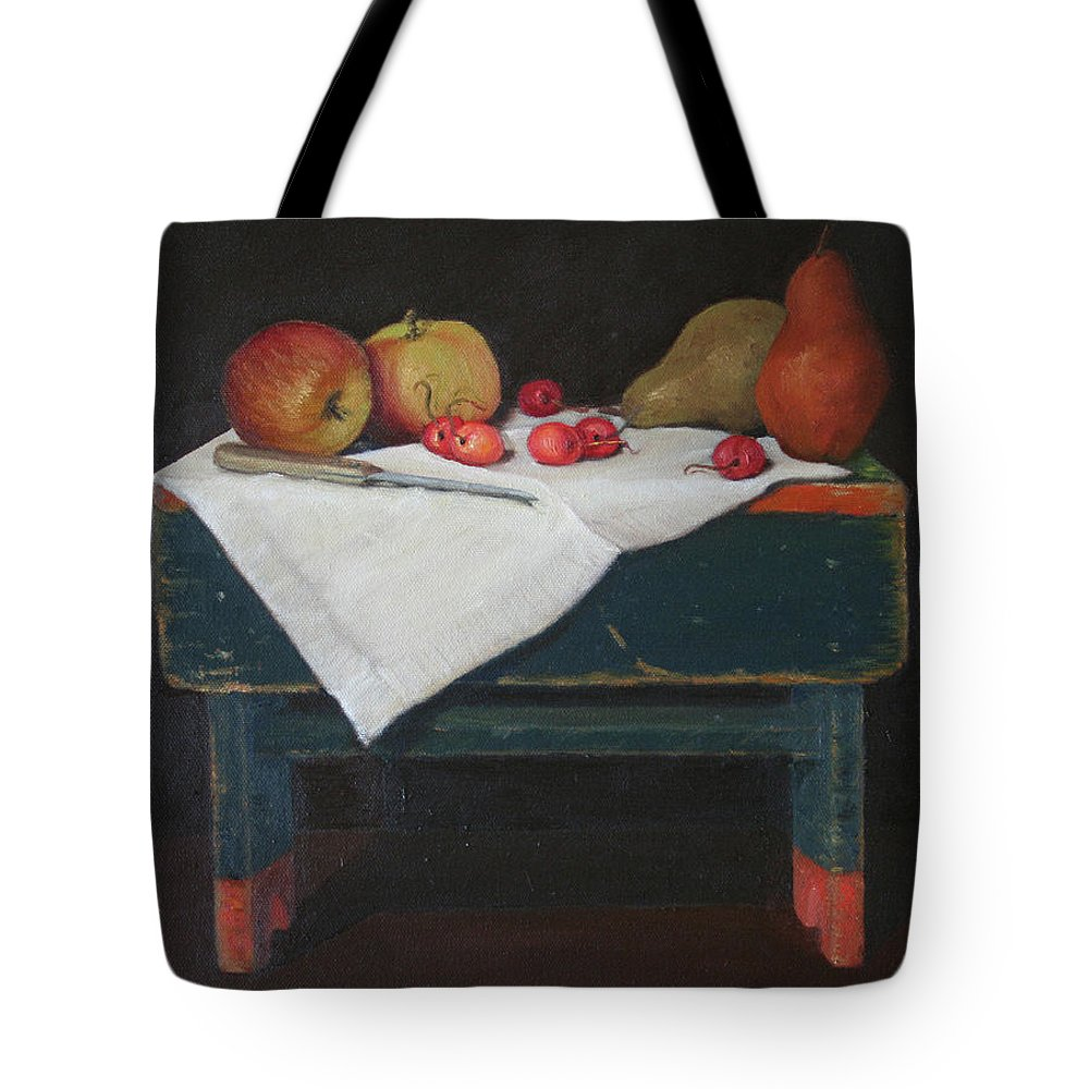 Still Life Tote Bag featuring the painting Bing On A Bench by Donald Darst