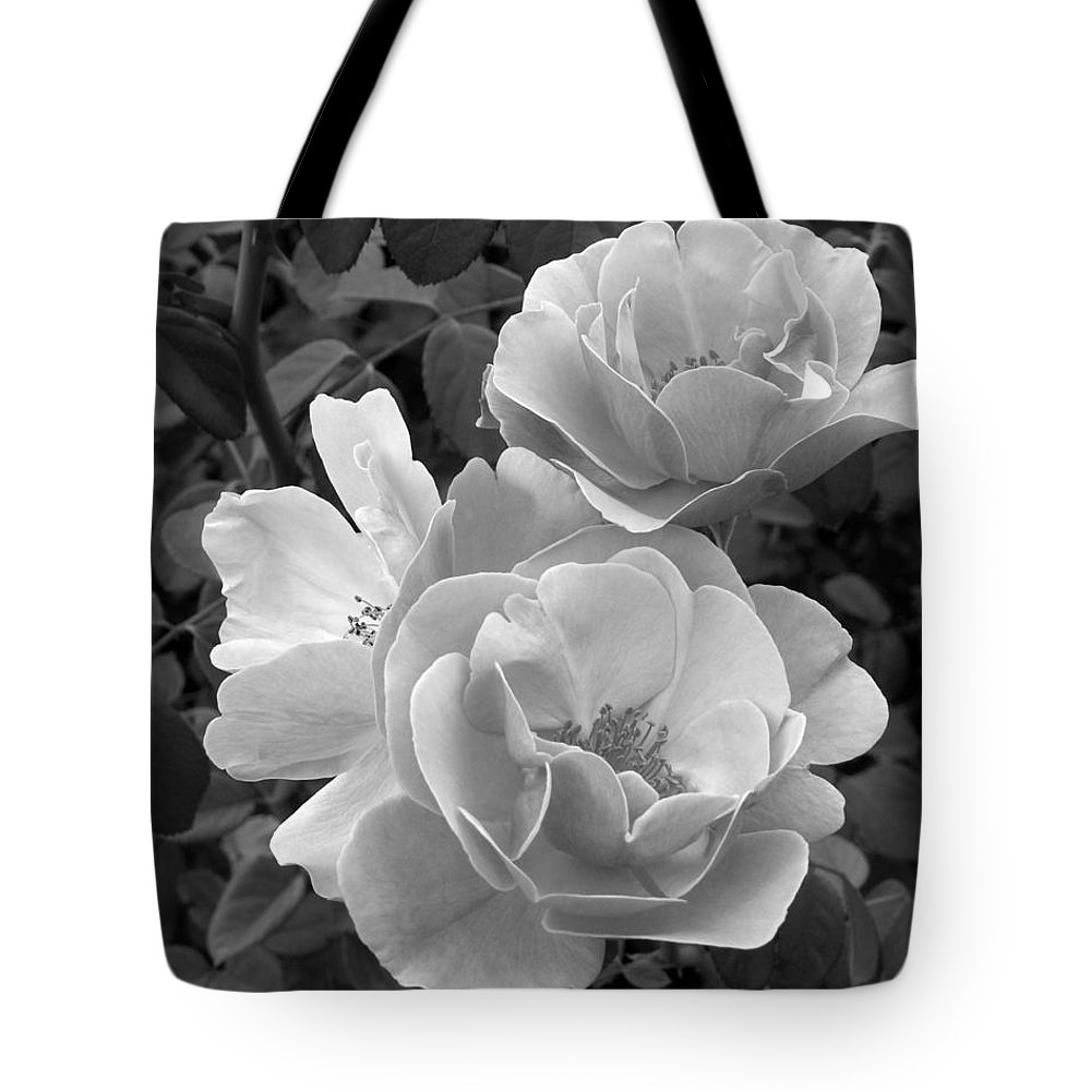 Rose Tote Bag featuring the photograph Black And White Roses 2 by Amy Fose