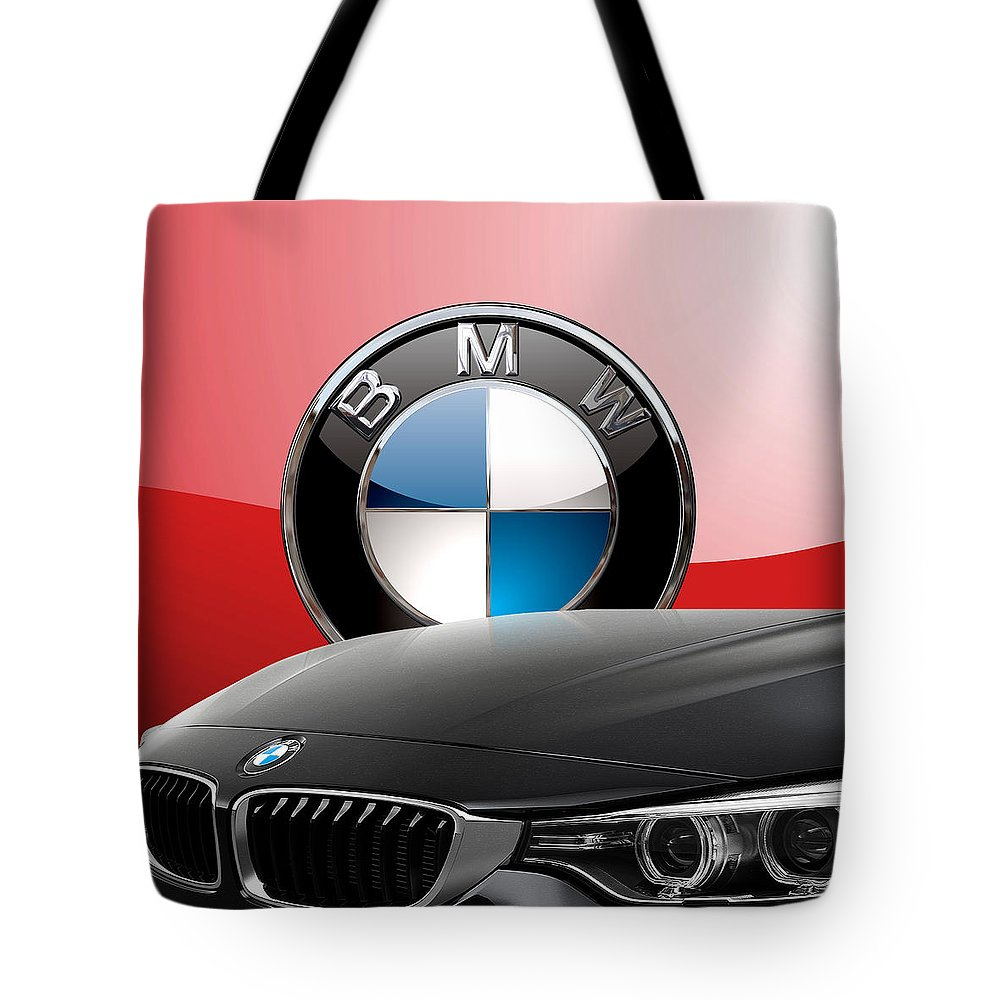 �auto Badges� Collection By Serge Averbukh Tote Bag featuring the photograph Black B M W - Front Grill Ornament and 3 D Badge on Red by Serge Averbukh