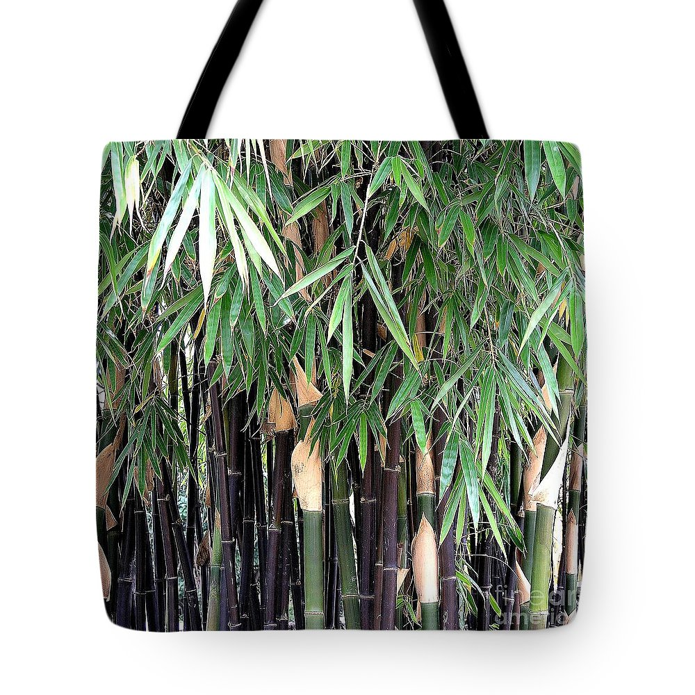Black Tote Bag featuring the photograph Black Bamboo by Mary Deal