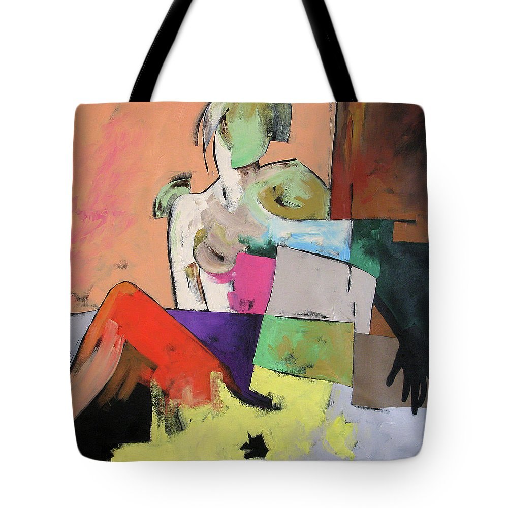 Original Painting Tote Bag featuring the painting Black Glove by Linda Monfort