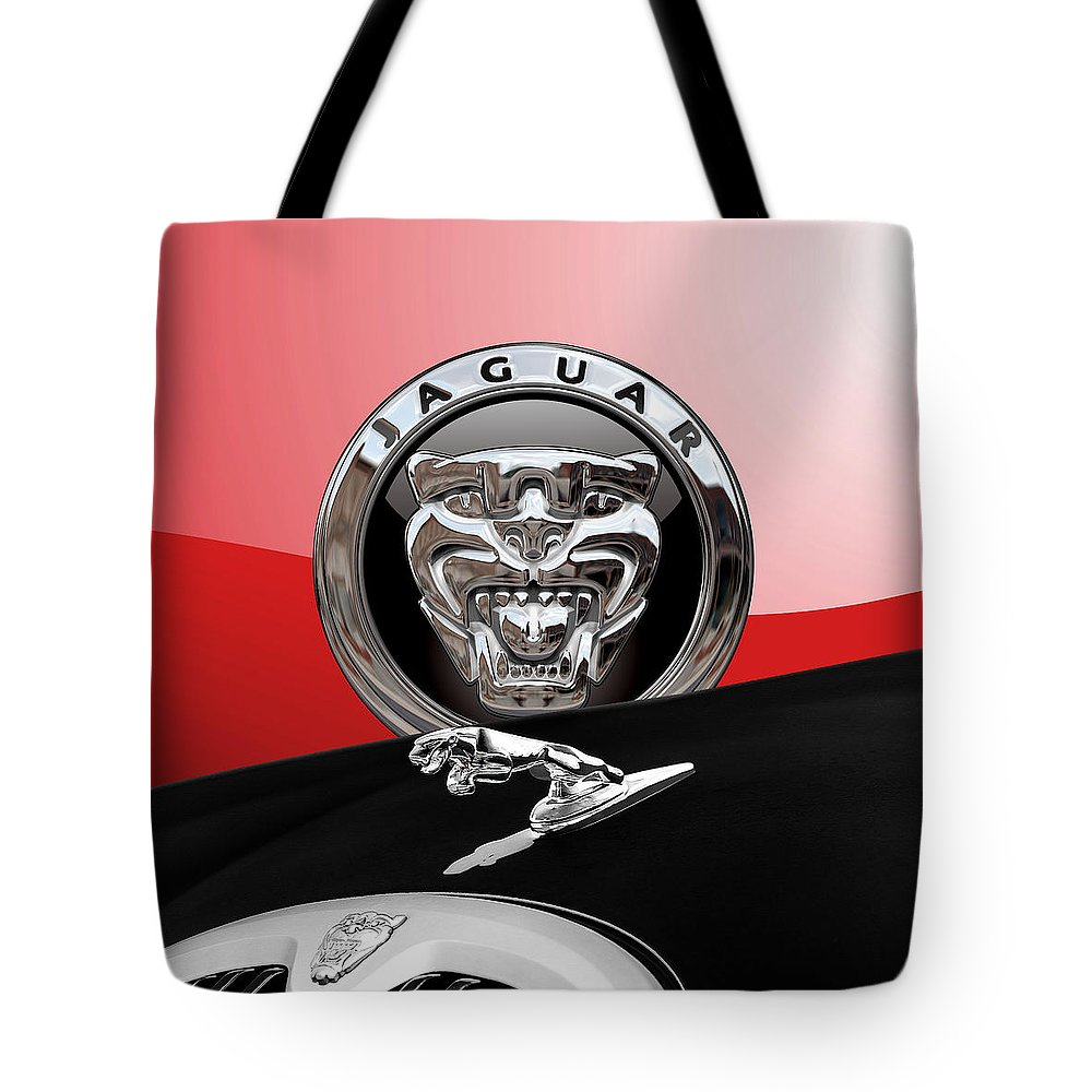 'auto Badges' Collection By Serge Averbukh Tote Bag featuring the photograph Black Jaguar - Hood Ornaments And 3 D Badge On Red by Serge Averbukh