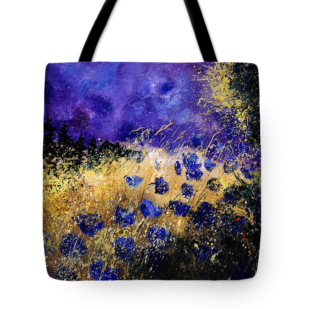 Poppies Tote Bag featuring the painting Blue Cornflowers by Pol Ledent