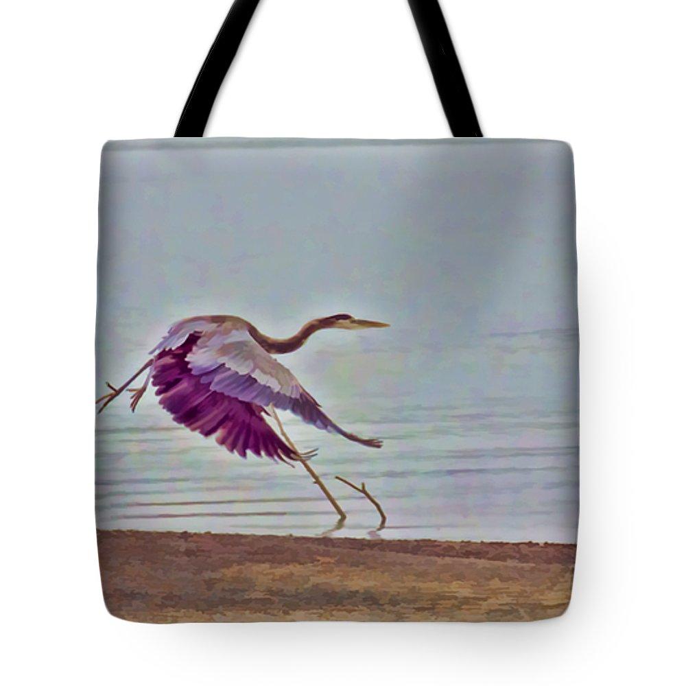 Blue Heron Tote Bag featuring the photograph Blue Heron by Douglas Barnard