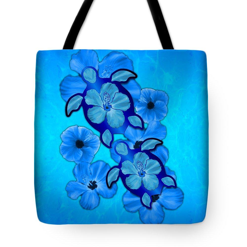 Honu Tote Bag featuring the digital art Blue Hibiscus And Honu Turtles by Chris MacDonald