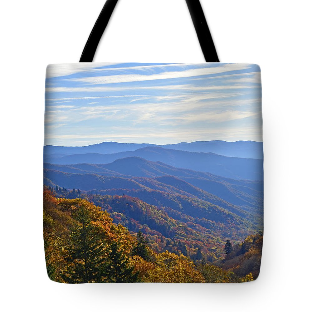 Ann Keisling Tote Bag featuring the photograph Blue Ridge Parkway View by Ann Keisling