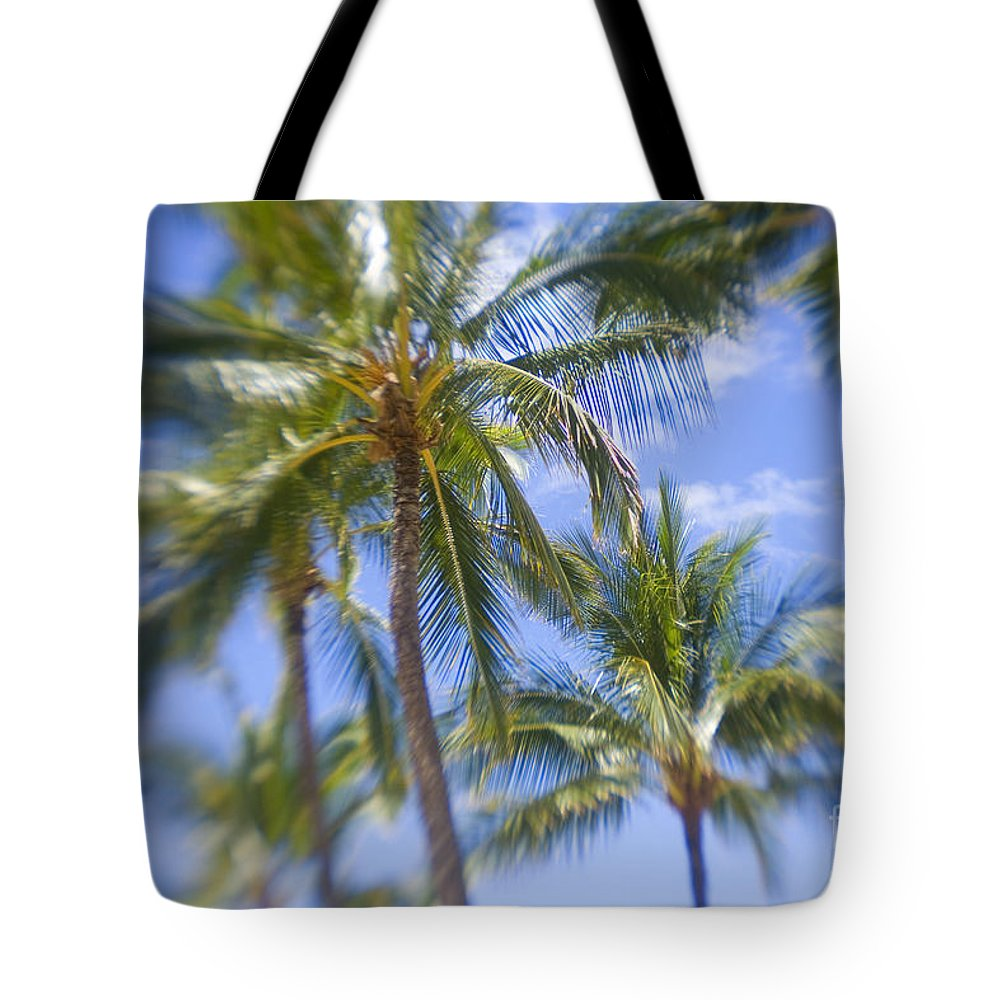 Blue Tote Bag featuring the photograph Blurry Palms by Ron Dahlquist - Printscapes