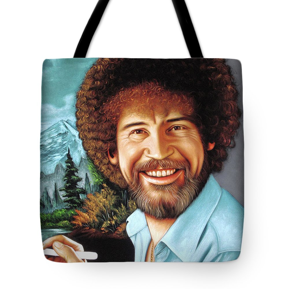 Velvet Painting Tote Bag featuring the painting Bob Ross by Zenon Matias Jimenez