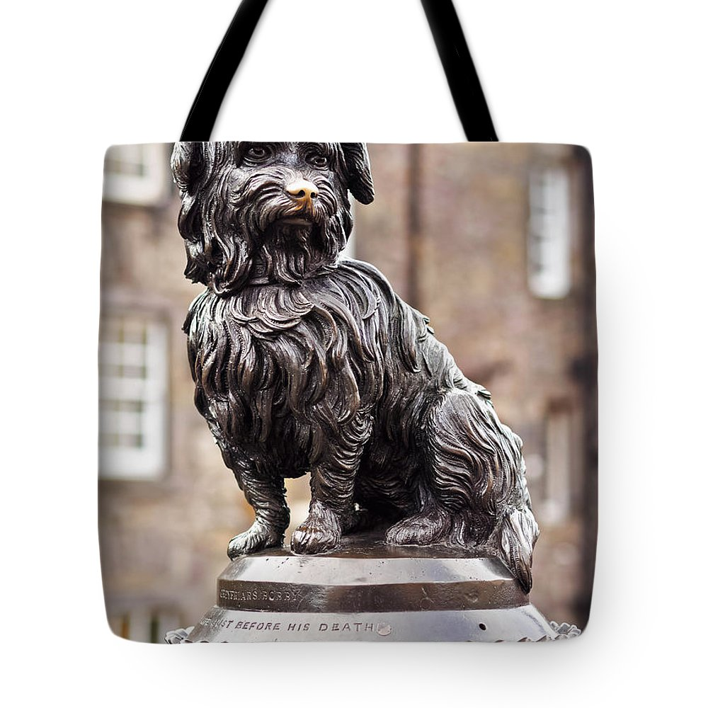 Europe Tote Bag featuring the photograph Bobby Statue, Edinburgh, Scotland by Karol Kozlowski