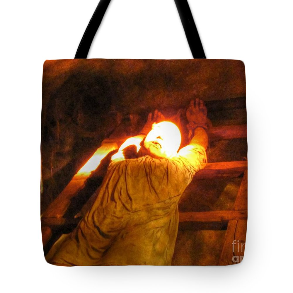 Body Tote Bag featuring the pyrography Body by Yury Bashkin