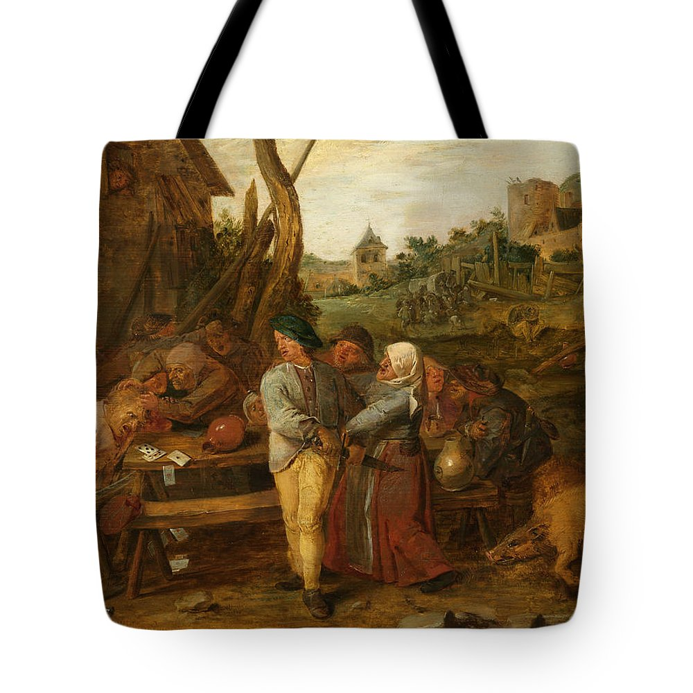 Adriaen Brouwer Tote Bag featuring the painting Boer Fisticuffs by Adriaen Brouwer