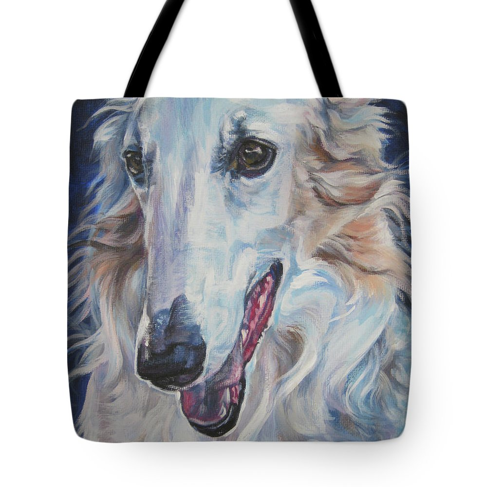 Borzoi Tote Bag featuring the painting Borzoi by Lee Ann Shepard