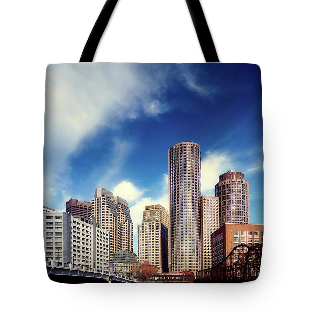 Boston Tote Bag featuring the photograph Boston Skyline 1980s by Mountain Dreams