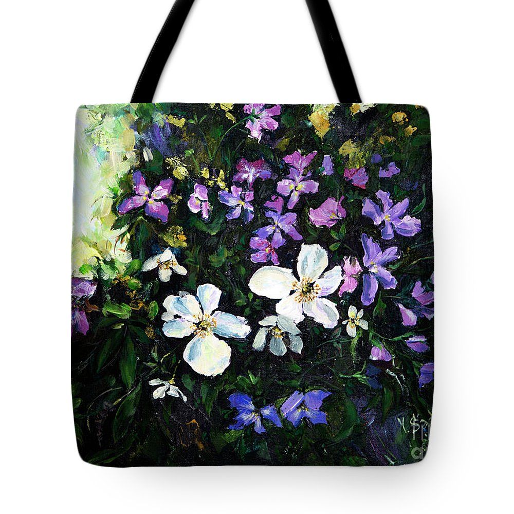 Flower Tote Bag featuring the painting Bouquet by Yana Sadykova