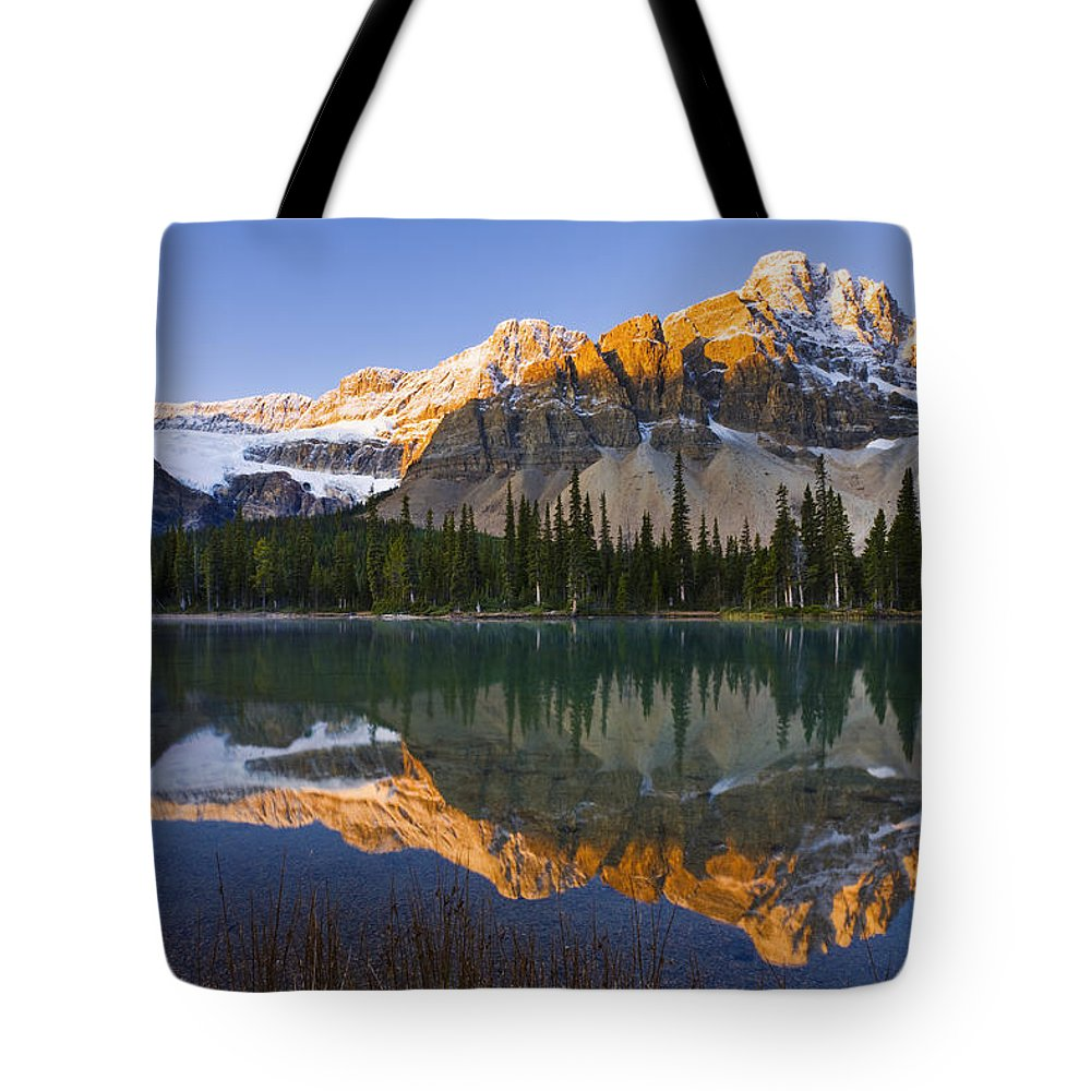 Banff National Park Tote Bag featuring the photograph Bow Lake And Crowfoot Mountain by Yves Marcoux