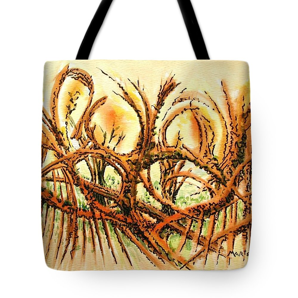 Abstract Tote Bag featuring the painting Brambles by Dave Martsolf