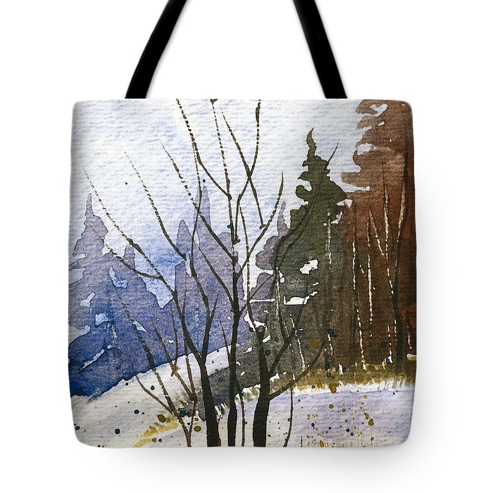 Snow Tote Bag featuring the painting Branches by Tonya Doughty
