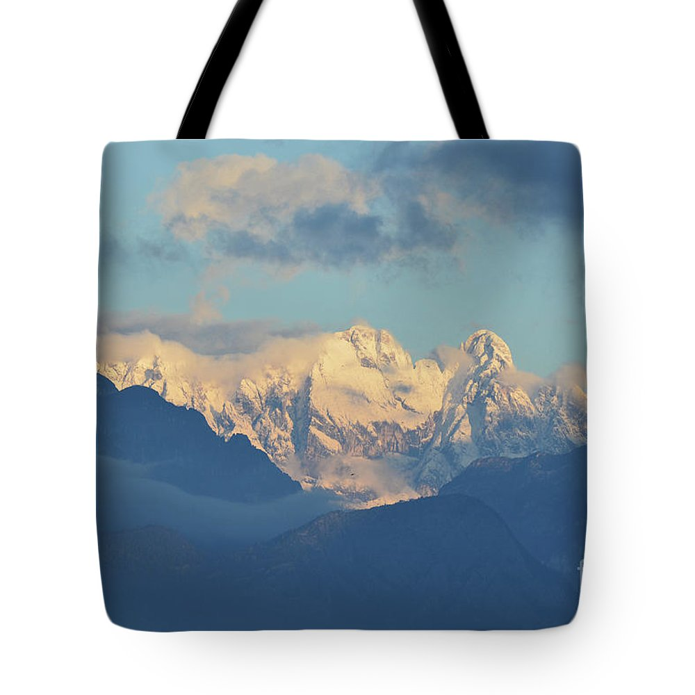 Mountains Tote Bag featuring the photograph Breathtaking Scenic View Of The Alps In Italy by DejaVu Designs