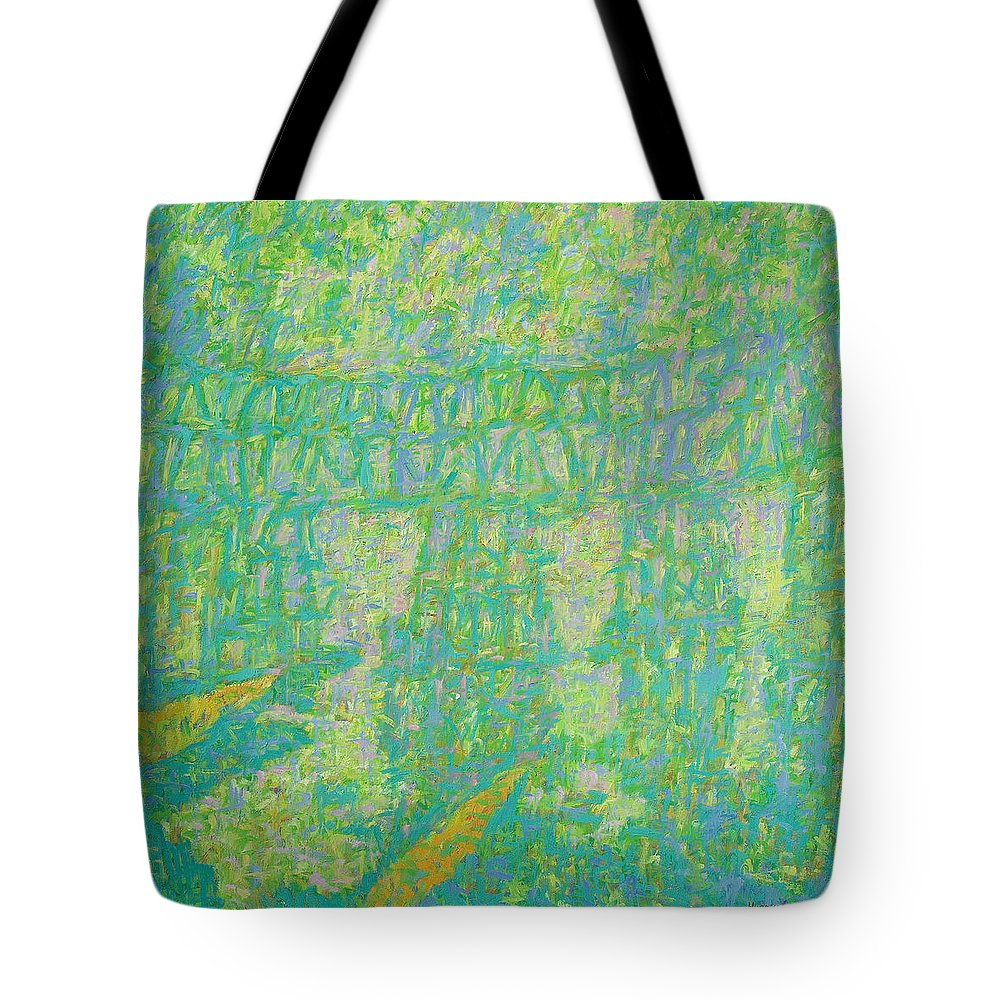River Tote Bag featuring the painting Bridge by Robert Nizamov