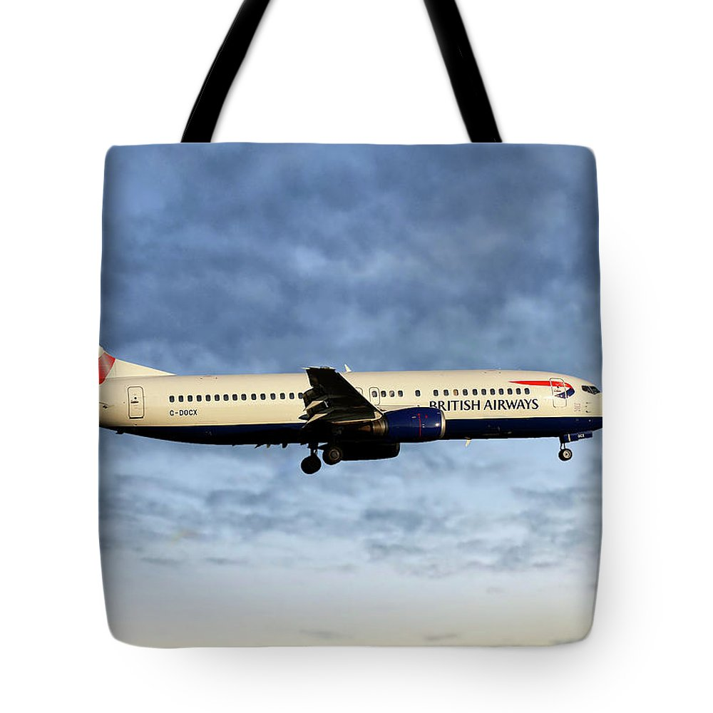 British Airways Tote Bag featuring the photograph British Airways Boeing 737-436 1 by Smart Aviation