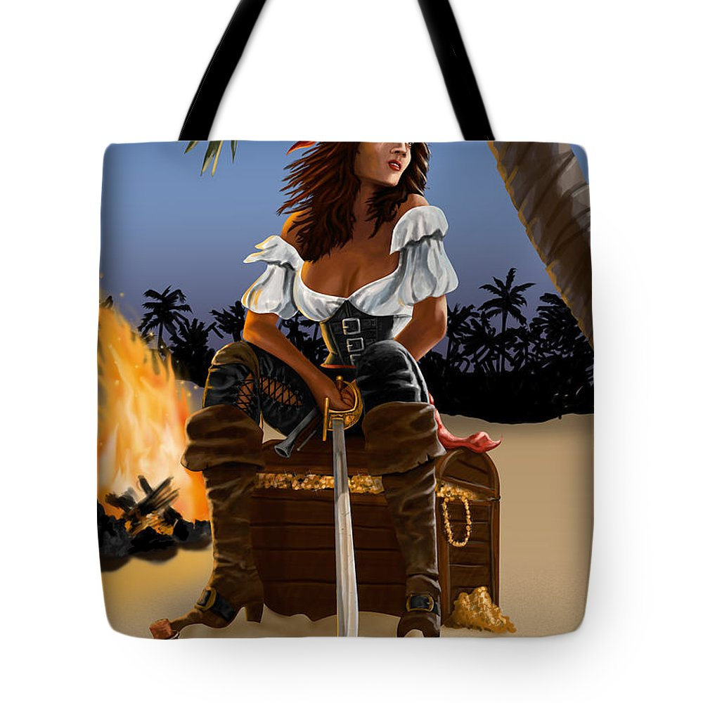 Pirate Tote Bag featuring the digital art Buckling the Swash by Doug Schramm