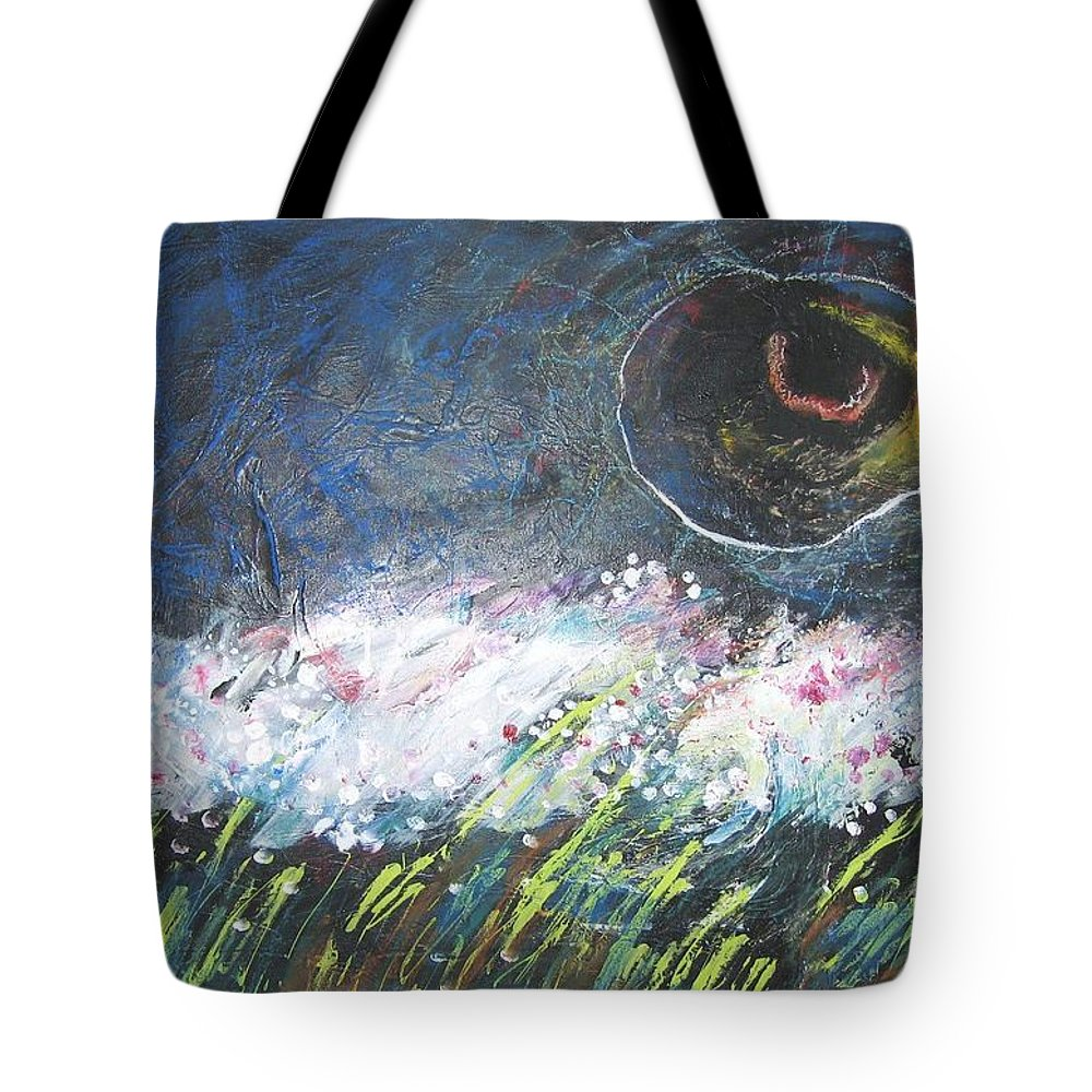 Aabstract Paintings Tote Bag featuring the painting Buckwheat Field by Seon-Jeong Kim