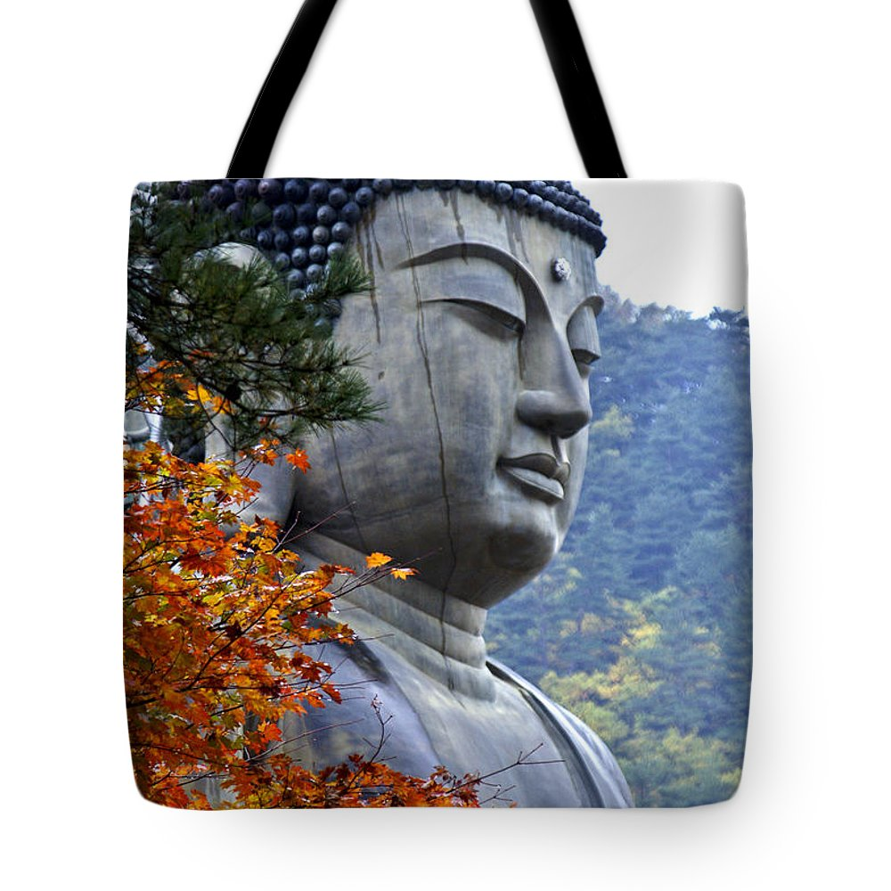Buddha Tote Bag featuring the photograph Buddha In Autumn by Michele Burgess