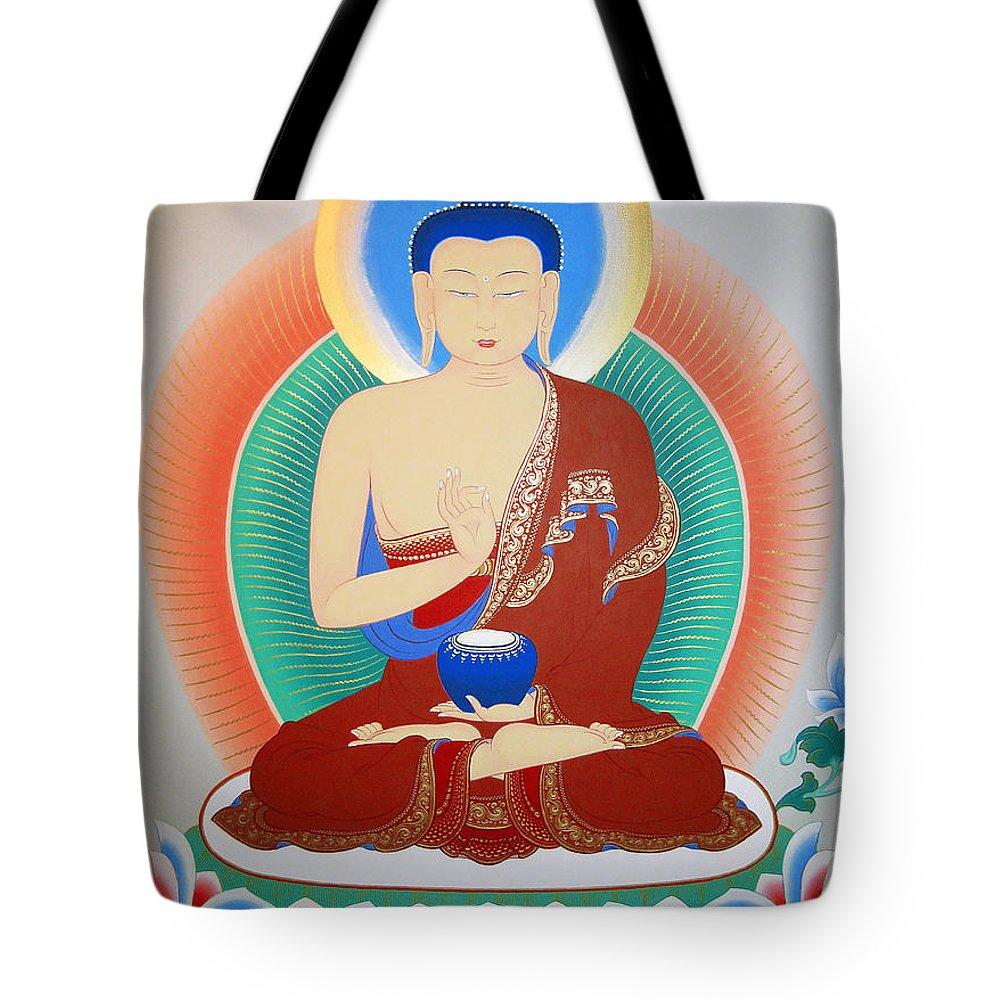 Thangka Tote Bag featuring the painting Buddha Kashyapa by Sergey Noskov