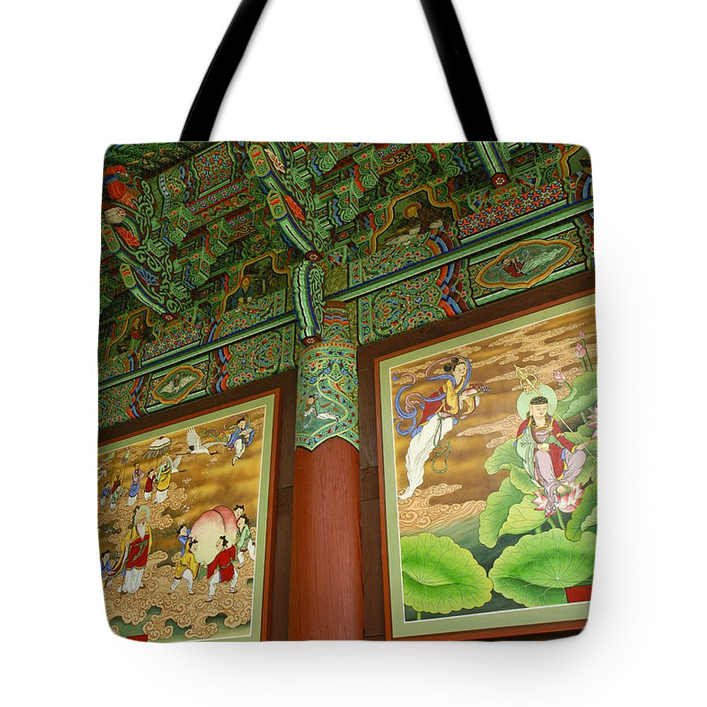 Buddha Tote Bag featuring the photograph Buddhist Murals by Michele Burgess
