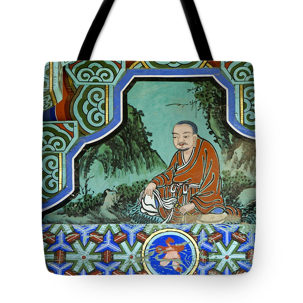 Buddha Tote Bag featuring the photograph Buddhist Temple Art by Michele Burgess