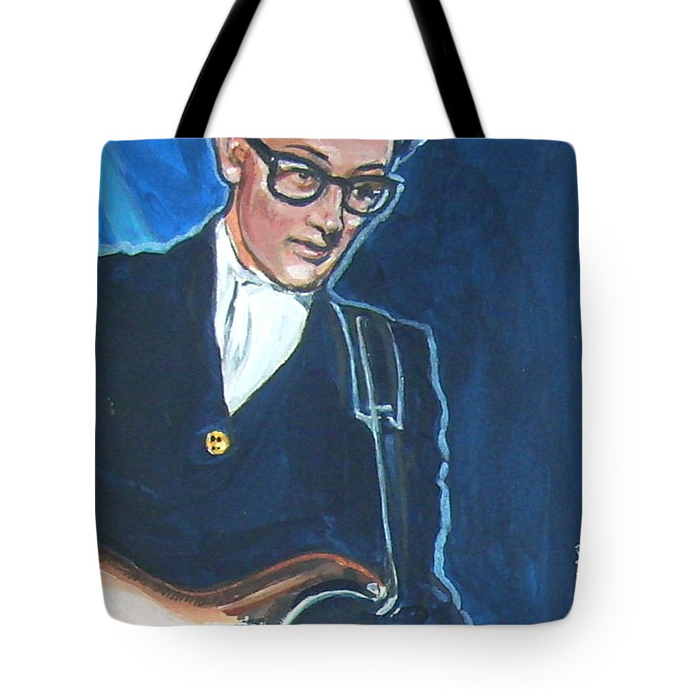 Buddy Holly Tote Bag featuring the painting Buddy Holly by Bryan Bustard