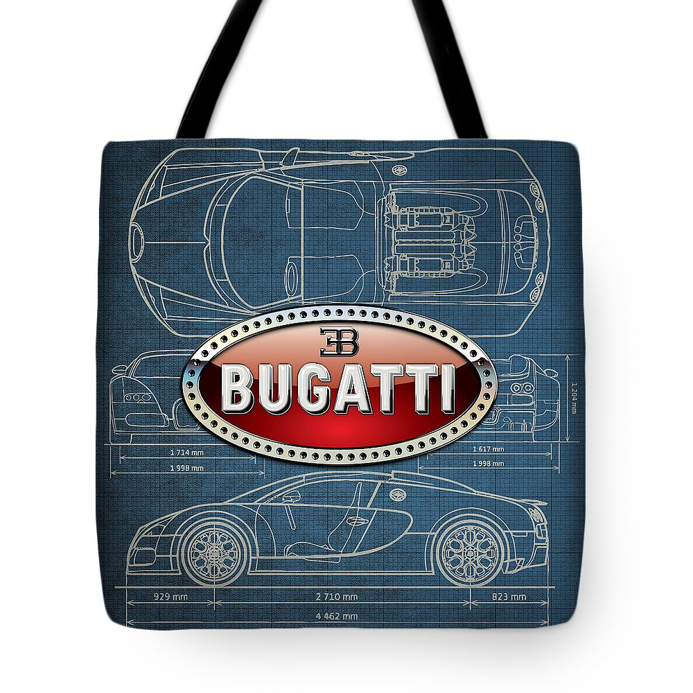 �wheels Of Fortune� By Serge Averbukh Tote Bag featuring the photograph Bugatti 3 D Badge over Bugatti Veyron Grand Sport Blueprint by Serge Averbukh