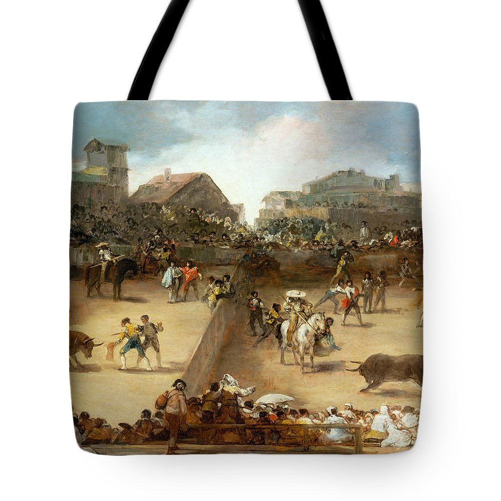 Bullfight Tote Bag featuring the painting Bullfight In A Divided Ring by Francisco Goya