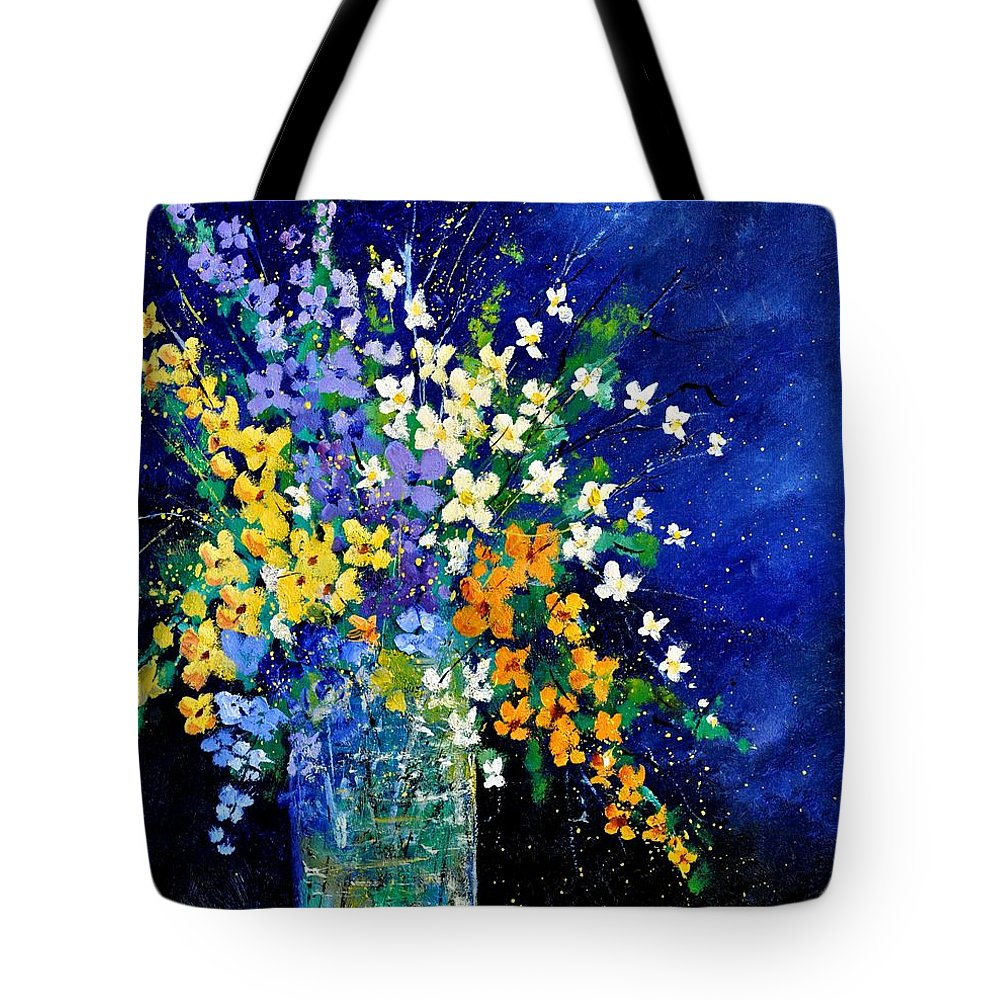 Flowers Tote Bag featuring the painting Bunch 0140 by Pol Ledent