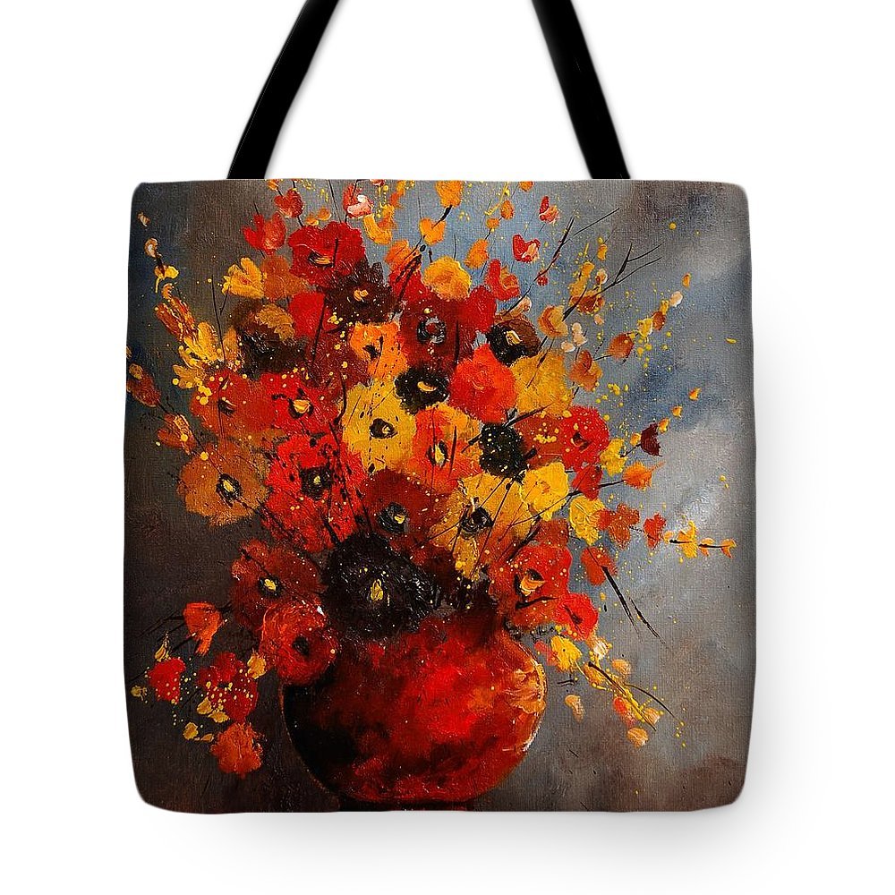 Flowers Tote Bag featuring the painting Bunch 0708 by Pol Ledent
