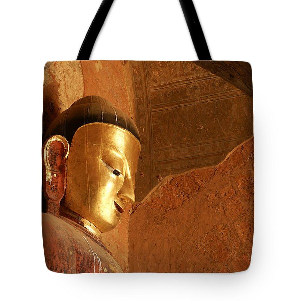 Buddha Tote Bag featuring the photograph Burmese Buddha by Michele Burgess