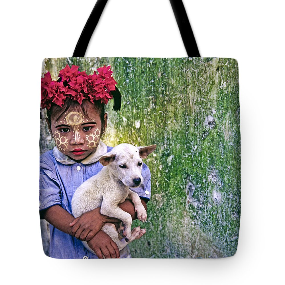 Myanmar Tote Bag featuring the photograph Burmese Girl With Puppy by Michele Burgess