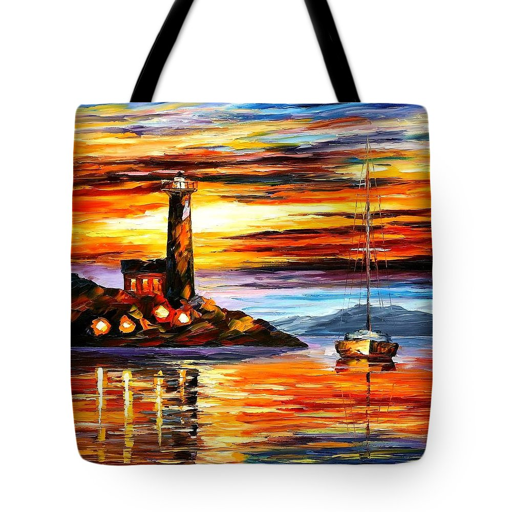 Afremov Tote Bag featuring the painting By The Lighthouse by Leonid Afremov