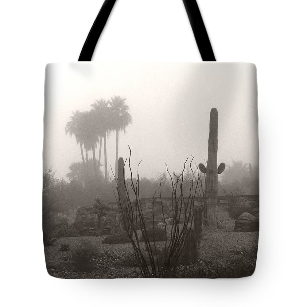 Cactus Fog Desert Saguaro Palm Tree Ocotillo Landscape Scene Scenery Scottsdale Phoenix Arizona Tote Bag featuring the photograph Cactus Fog by Heather Kirk