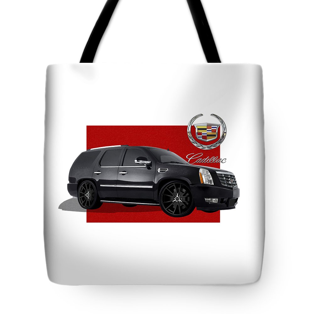 �cadillac� By Serge Averbukh Tote Bag featuring the photograph Cadillac Escalade with 3 D Badge by Serge Averbukh