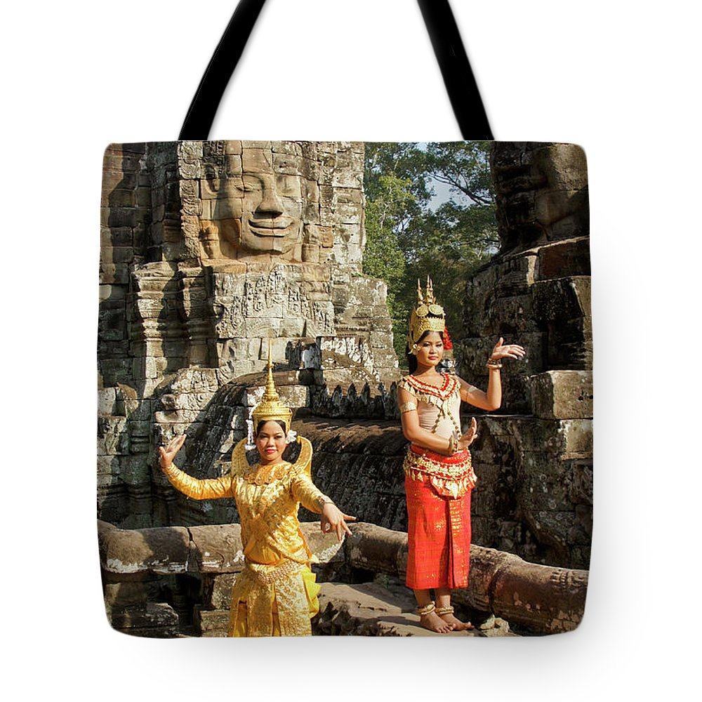 Asia Tote Bag featuring the photograph Cambodian Dancers At Angkor Thom by Michele Burgess