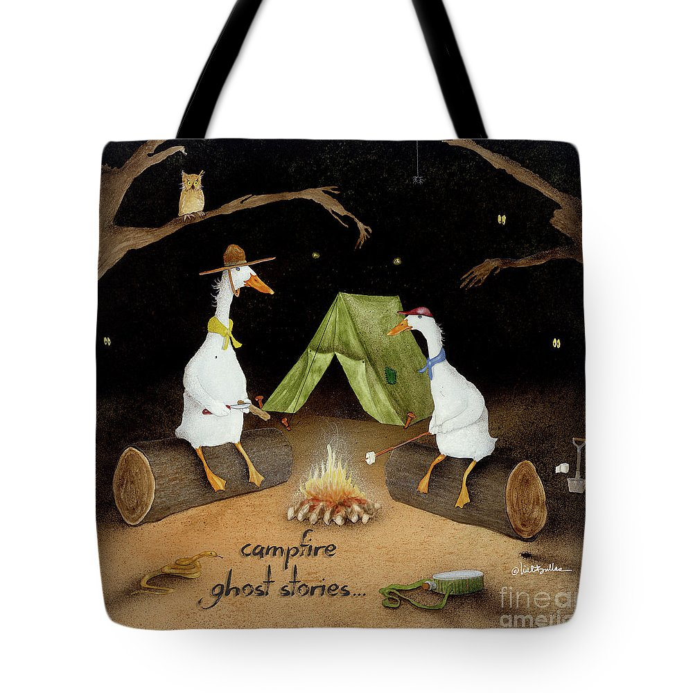 Will Bullas Tote Bag featuring the painting Campfire Ghost Stories by Will Bullas