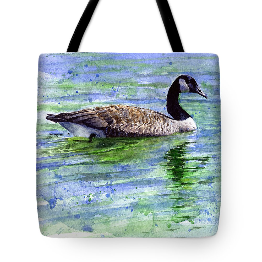 Bird Tote Bag featuring the painting Canada Goose by John D Benson