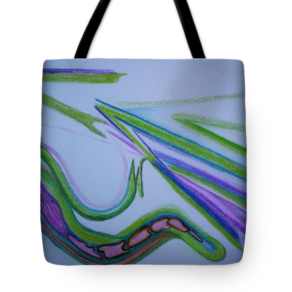 Abstract Tote Bag featuring the drawing Canal by Suzanne Udell Levinger