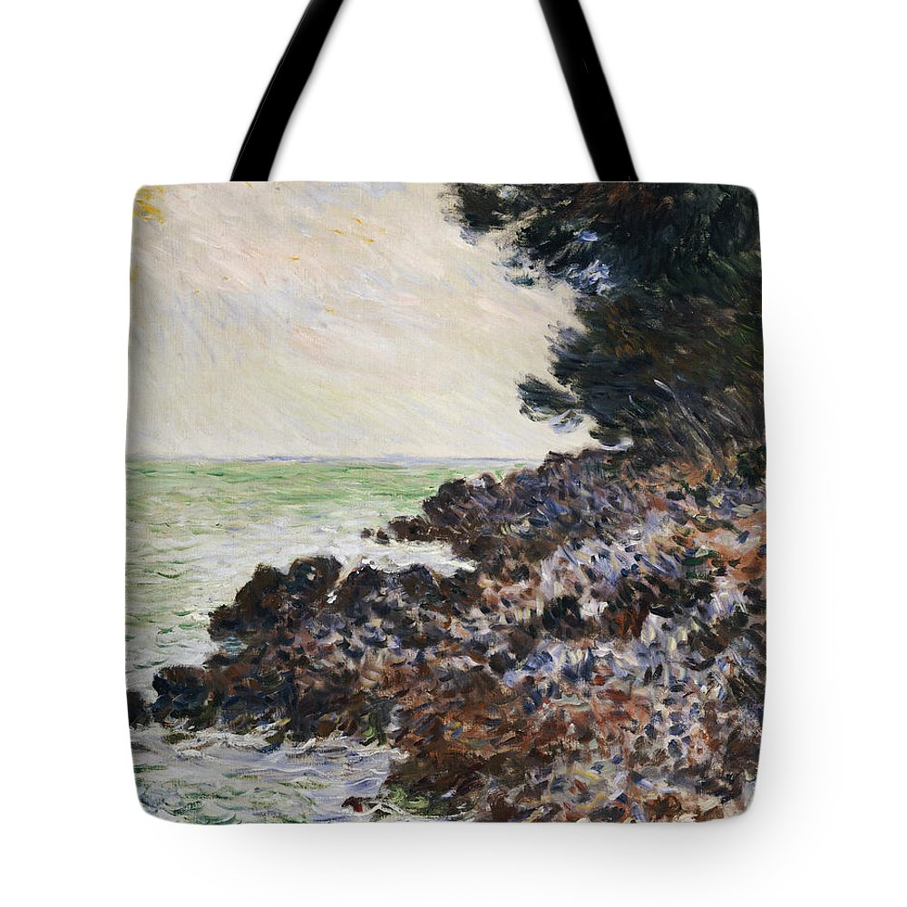 Cap Martin (oil On Canvas) Impressionism; Impressionist; Landscape; Seascape; Tree; Rock; Rocky; Coast; Coastal; Sea; Ocean; French Tote Bag featuring the painting Cap Martin by Claude Monet