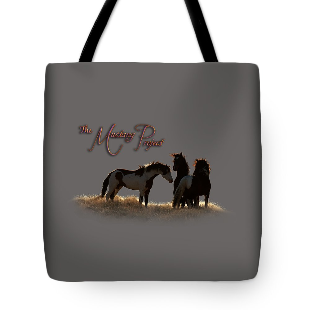 The Mustang Project Tote Bag featuring the photograph Captain In The Storm by Marilyn Gregory