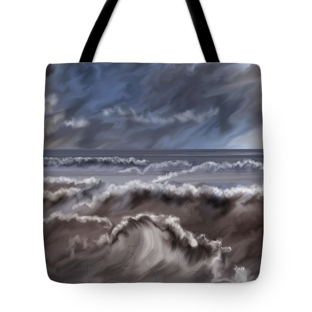 Seascape Tote Bag featuring the painting Caramel Seas by Anne Norskog