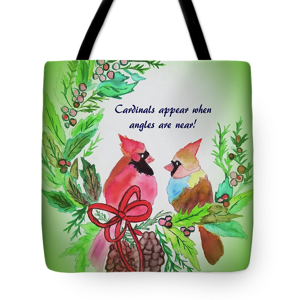 Tote Bag featuring the painting Cardinals Painted By Laurel Adams by Laurel Adams