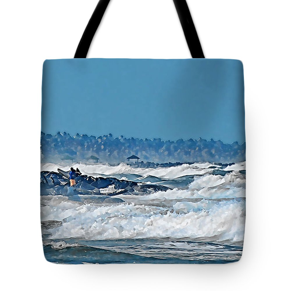 Sea Waves People Fish Rock Beach Trees Sky Blue White Tote Bag featuring the photograph Caribbean Sea by Galeria Trompiz
