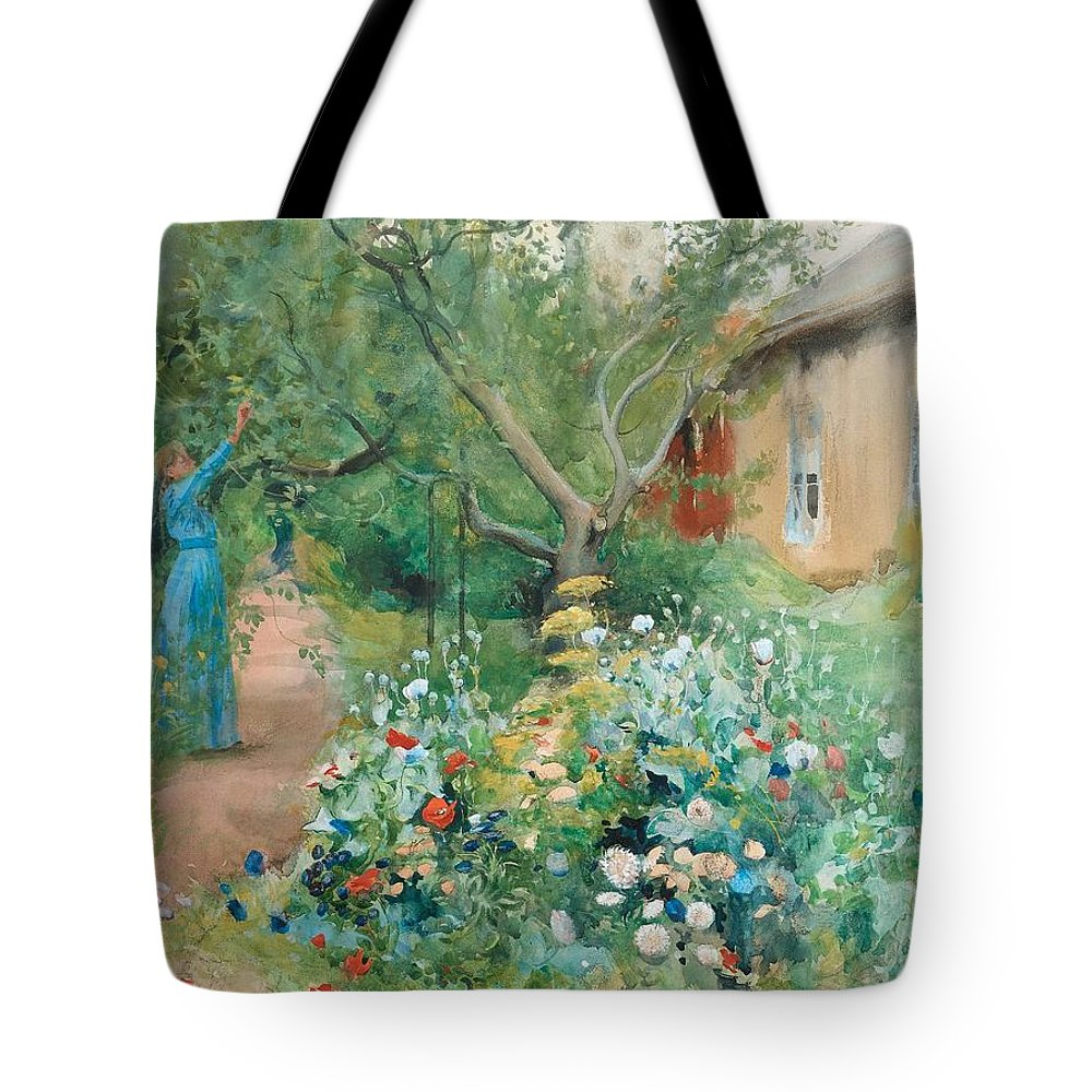 Nature Tote Bag featuring the painting Carl Larsson, Garden Scene From Marstrand On The West Coast Of Sweden. by Carl Larsson